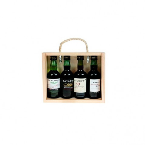 Taylors 4 Portwein wines in Wooden Box