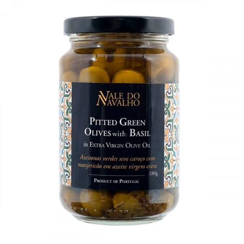 Vale do Navalho Pitted Green Olives with Basil 180 g