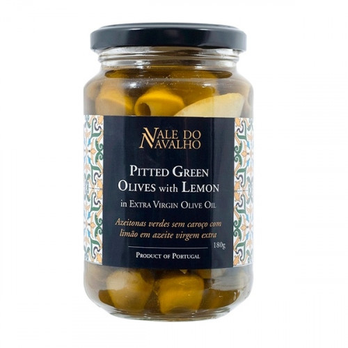 Vale do Navalho Pitted Green Olives with Lemon 180 g