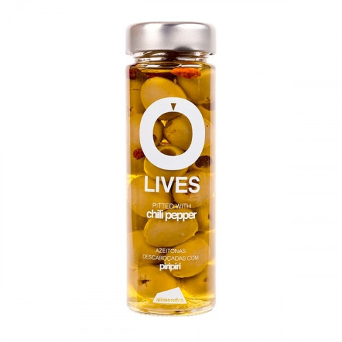 Almendra Pitted Green Olives with Chili Pepper 140 g
