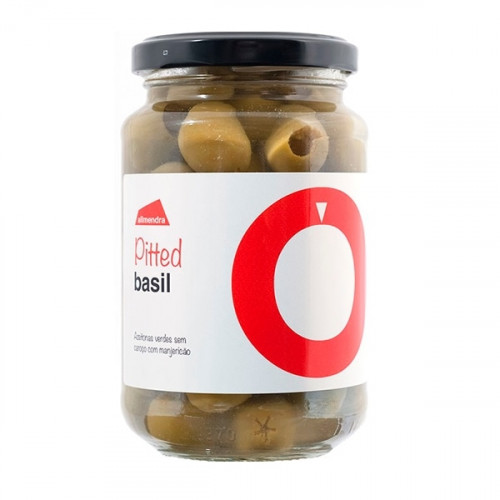 Almendra Pitted Green Olives with Basil 180 g