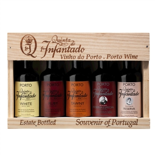 Quinta do Infantado 5 Portwein wines in wooden box