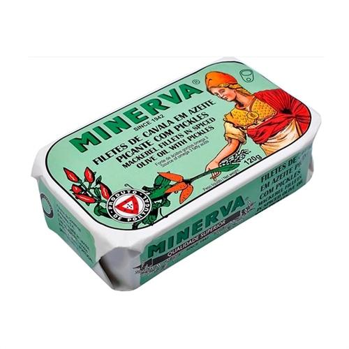 Minerva Filetti di Sgombro in Olio di Oliva Piccante e Pickles