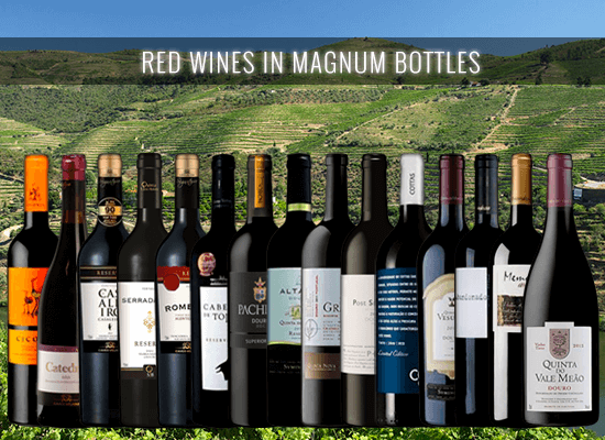 A selection of red wines in magnum bottles. The trendiest way to present a wine in a special occasion